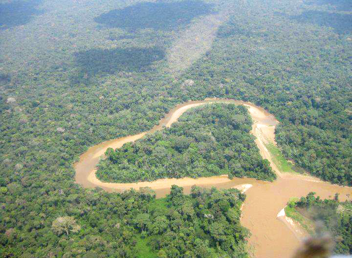 Amazon river, heart shape