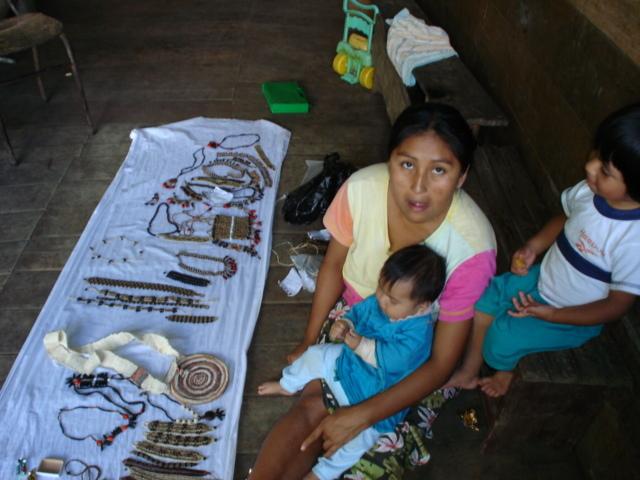 Woman selling her handmade works
